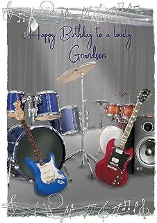 Electric guitar happy birthday greeting card amazon kitchen grandson birthday card drum kits electric guitars music notes 95 m4hsunfo