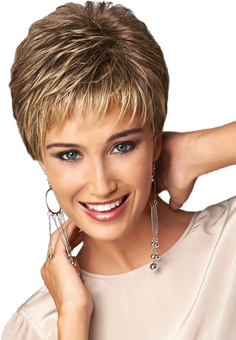 Short Pixie Cut Ladies wig Brown mixed Golden Blonde Highlights