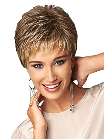 Short Pixie Cut Ladies wig Brown mixed Golden Blonde