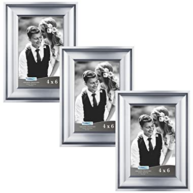 Icona Bay 4x6 Picture Frame (3 Pack, Silver), Silver Photo Frame 4 x 6, Wall Mount or Table Top, Set of 3 Elegante Collection