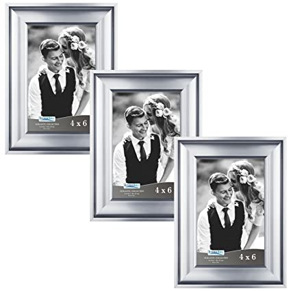 Amazon.com - Icona Bay 4 by 6 Picture Frames (4x6, 3 Pack, Silver ...