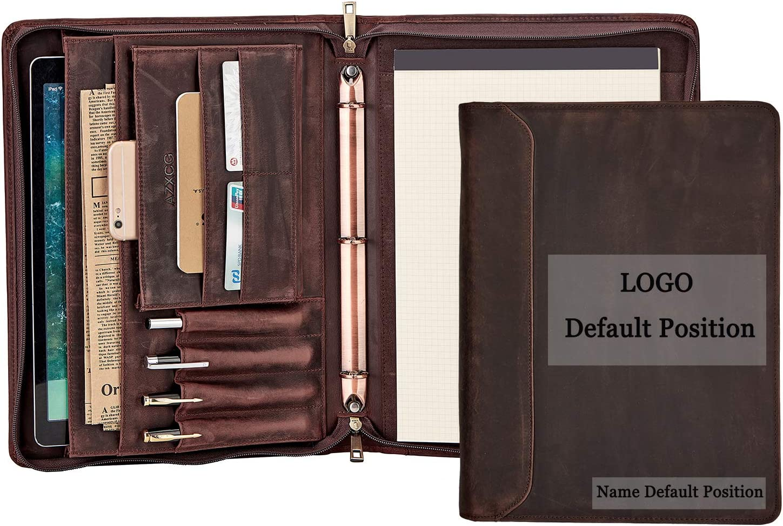 Custom Portfolio, Personalized Portfolio for Men/Women, Engraved Padfolio with 3 Ring Binder(1'' O Ring), Leather Portfolio Folder, Dark Brown