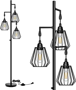 QiMH Dimmable Teardrop LED Industrial Floor Lamp for Living Room Farmhouse Rustic, Tall Tree Standing Lamp with 3 Hanging Edison LED Light Bulbs, Vintage Lamp for Ambience, Black