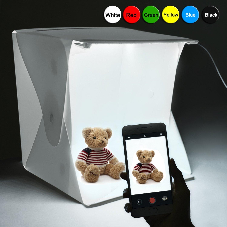 Portable Photo Studio, Elegant Choise Photography Studio Box Shooting Tent Mini Folding Table Top LED Light Box Kit with 6 Backdrops Kit