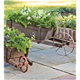 Large Solid Wood Wheelbarrow Planter with Functional Wheel