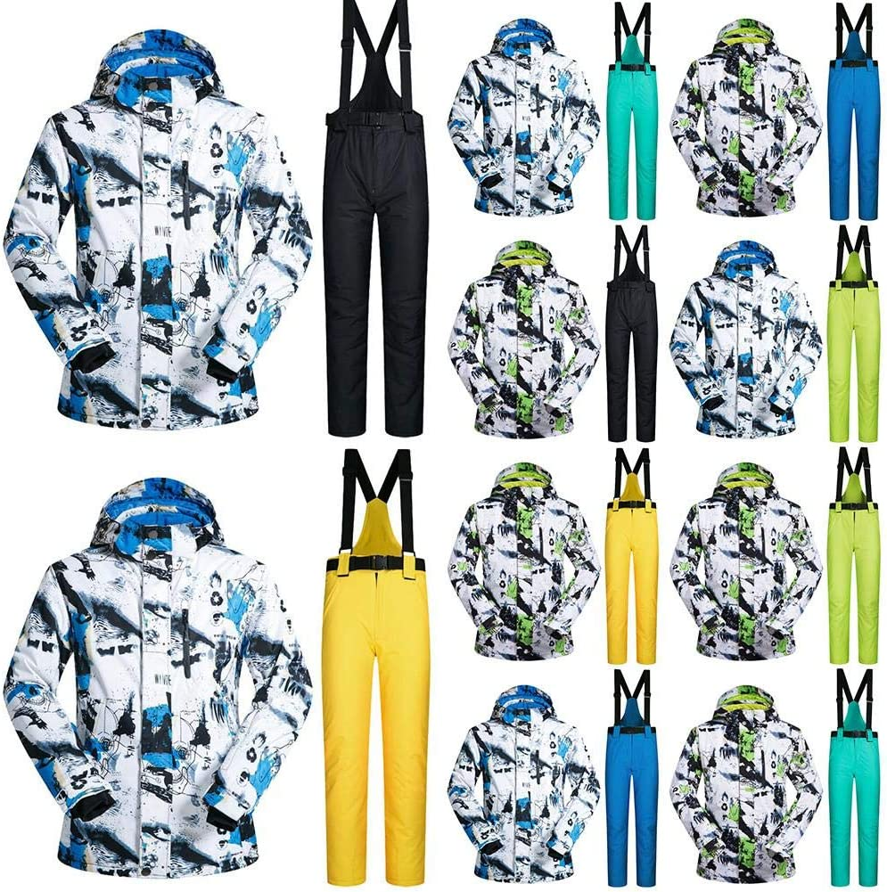 Winter-Skianzug,Skijacke M/änner,Skianzug Winddicht Wasserdicht Warme Outdoor-Skijacke