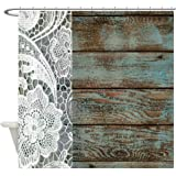 CafePress - Teal Barn Wood Lace Western Country - Decorative Fabric Shower Curtain