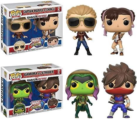 FunkoPOP Marvel vs Capcom: Captain Marvel vs Chun-Li + Gamora vs Strider - Stylized Vinyl Bobble-Head Figure Bundle Set: Amazon.es: Juguetes y juegos