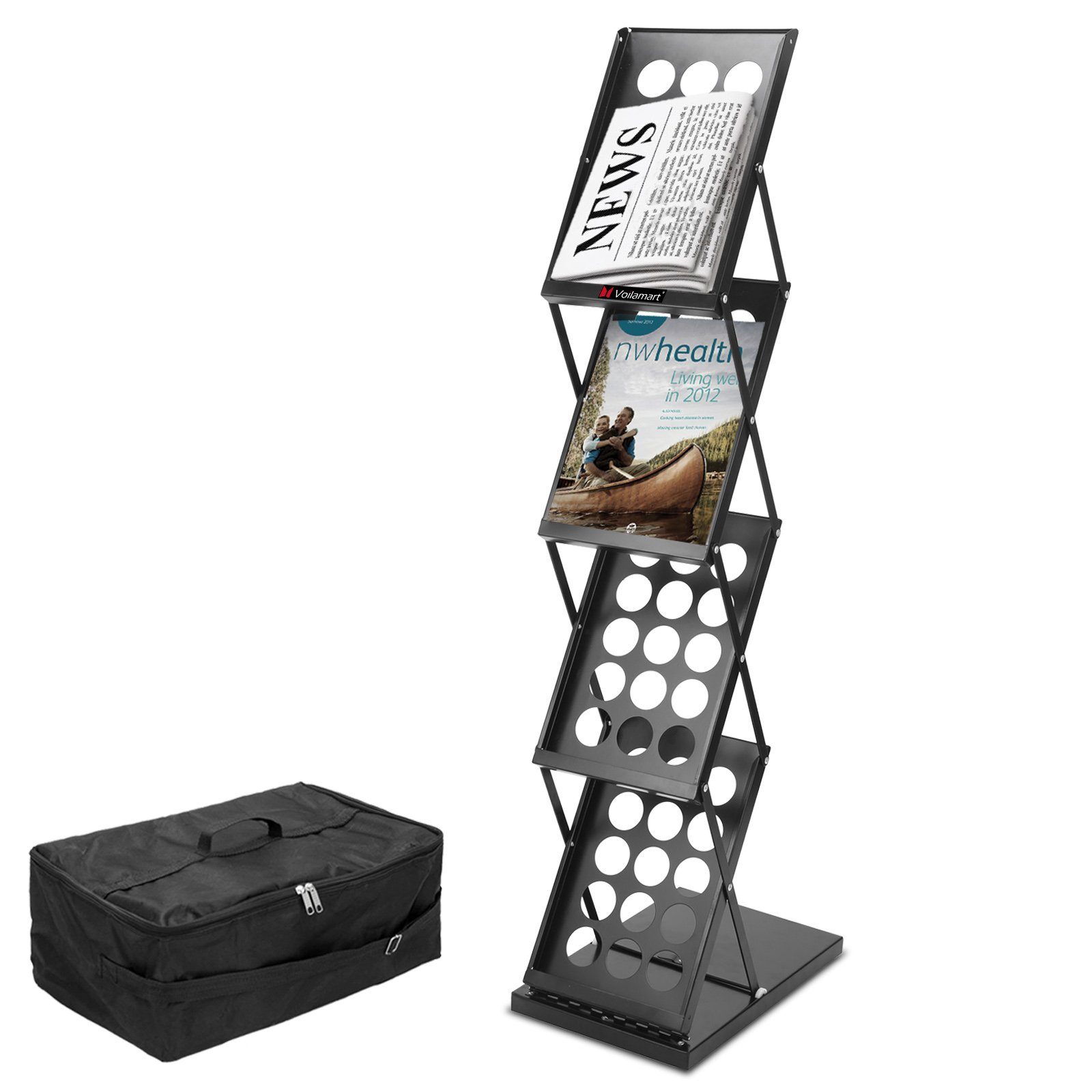 """Voilamart Portable Pop-up Folding Display Magazine Brochure Catalog Literature Holder Rack Stand, 4 Pockets 15''H x 9''W, 49"""" Tall, for Tradeshow Showroom Booth Office Retail Store w/Carry Bag"""