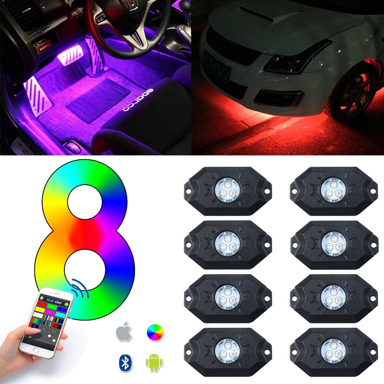 Amazon RGB LED Rock Lights POWLAB Set of 8 Pods Lights CREE