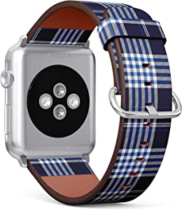 Compatible with Apple Watch Series 5, 4, 3, 2, 1 (Small Version 38/40 mm) Leather Wristband Bracelet Replacement Accessory Band + Adapters - Plaid Check Navy Cobalt