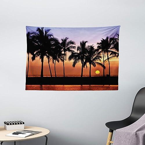 Ambesonne Hawaiian Tapestry, Hawaiian Sunset on Big Island Anaehoomalu Bay Ocean Romantic Resort, Wide Wall Hanging for Bedroom Living Room Dorm, 60 X 40 , Mauve Black