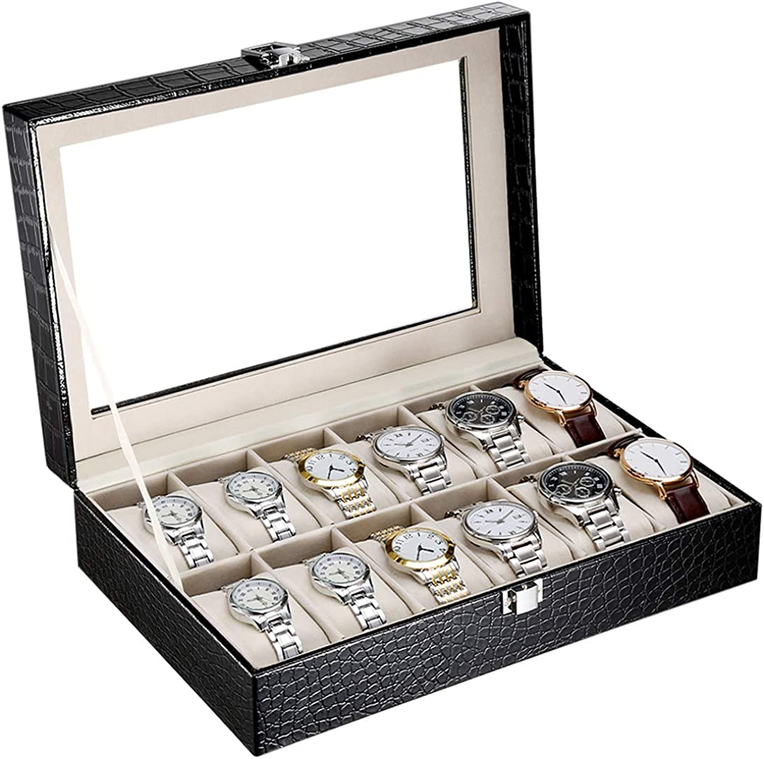 CRITIRON 12 Slot Caja para Relojes con Cerradura, Caja Joyero Organizador de Joyas, Porta Relojes y Joyas, con Vidrio Transparente