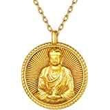 ChicSilver Unisex Buddha Pendant Necklace 925 Sterling Silver Bodhisattva Amulet/Talisman 18K Gold Plated Chinese…
