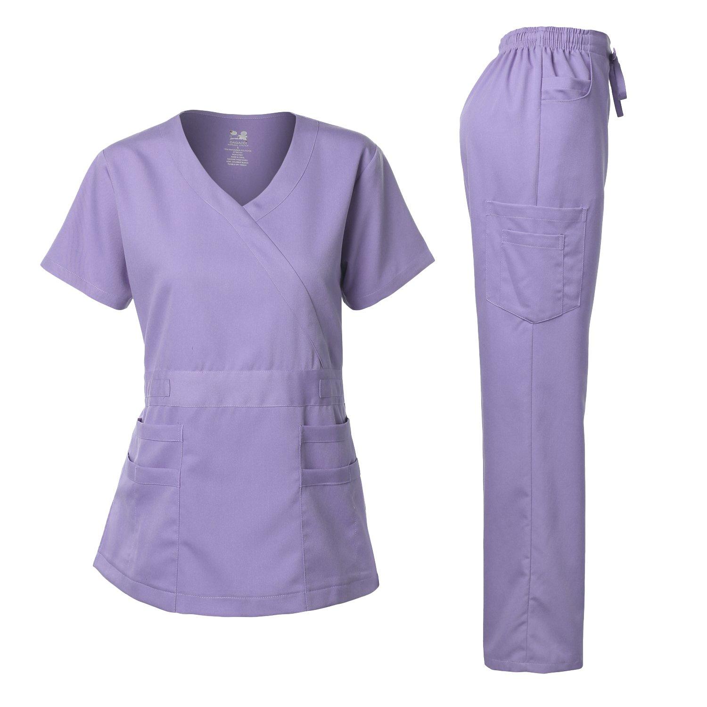 Dagacci Medical Uniform Junior Style-Tab Waist Wrap Top & Unisex Multi-Pocket Pants LAVENDERM