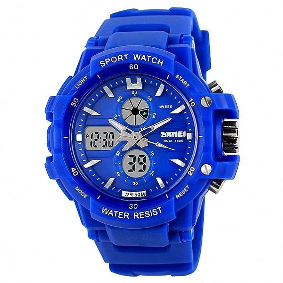 Skmei unisex Fashion Sport Digital reloj PU correa de caucho de doble movimiento impermeable + Caja: SKMEI: Amazon.es: Relojes
