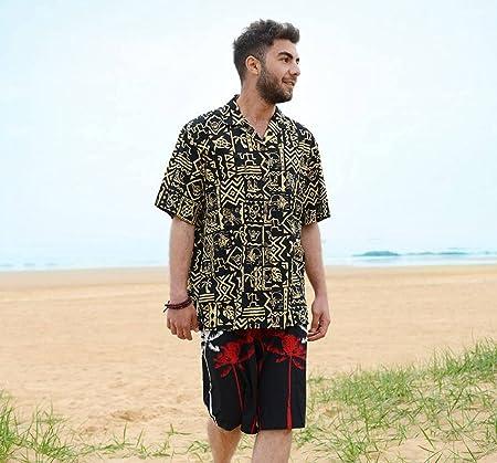 Camisa Hombres De Playa Hawaii - Estampado Retro con Botones ...