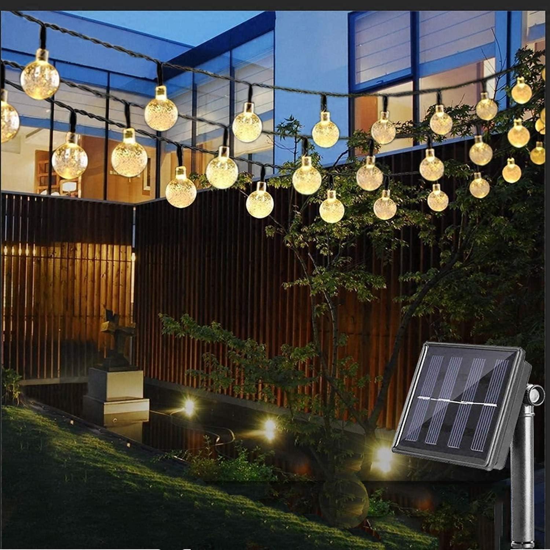 20 30 50 LED Solar Retro Crystal Ball String Fairy Lights Garden Outdoor Lamps