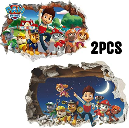 Kibi 2PCS Paw Patrol Sticker Mural 3D Chambre Gar/çon Fille Paw Patrouille 3D Autocollants Muraux Bris/és Stickers Muraux Pat Patrouille Autocollants Muraux Pat Patrouille Chambre Enfant