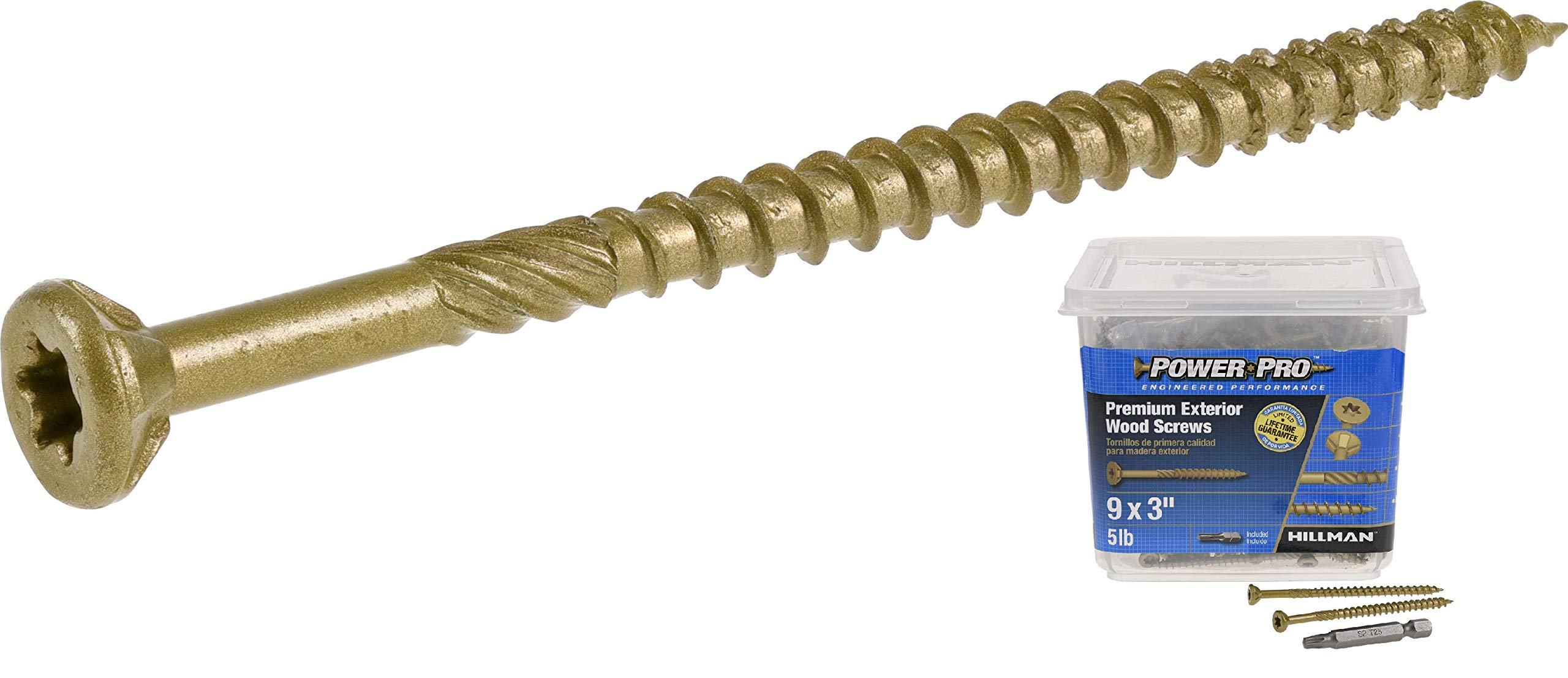 Hillman Power Pro 48611 Premium No Strip Exterior Wood Screws, 9 x 3in, 450 per Pack, Bronze Coat by Hillman