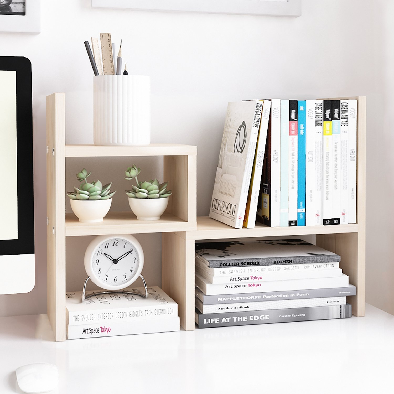 Jerry & Maggie - Desktop Organizer Office Storage Rack Adjustable Wood Display Shelf | Birthday Gifts - Toy - Home Decor | - Free Style Rotation Display - True Natural Stand Shelf White Wood Tone