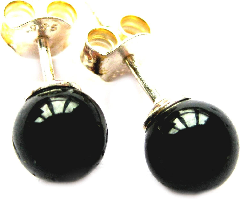 Pendientes negro Turmalin turmalina negra (estabilizado) Bola de 6 mm 925 plata