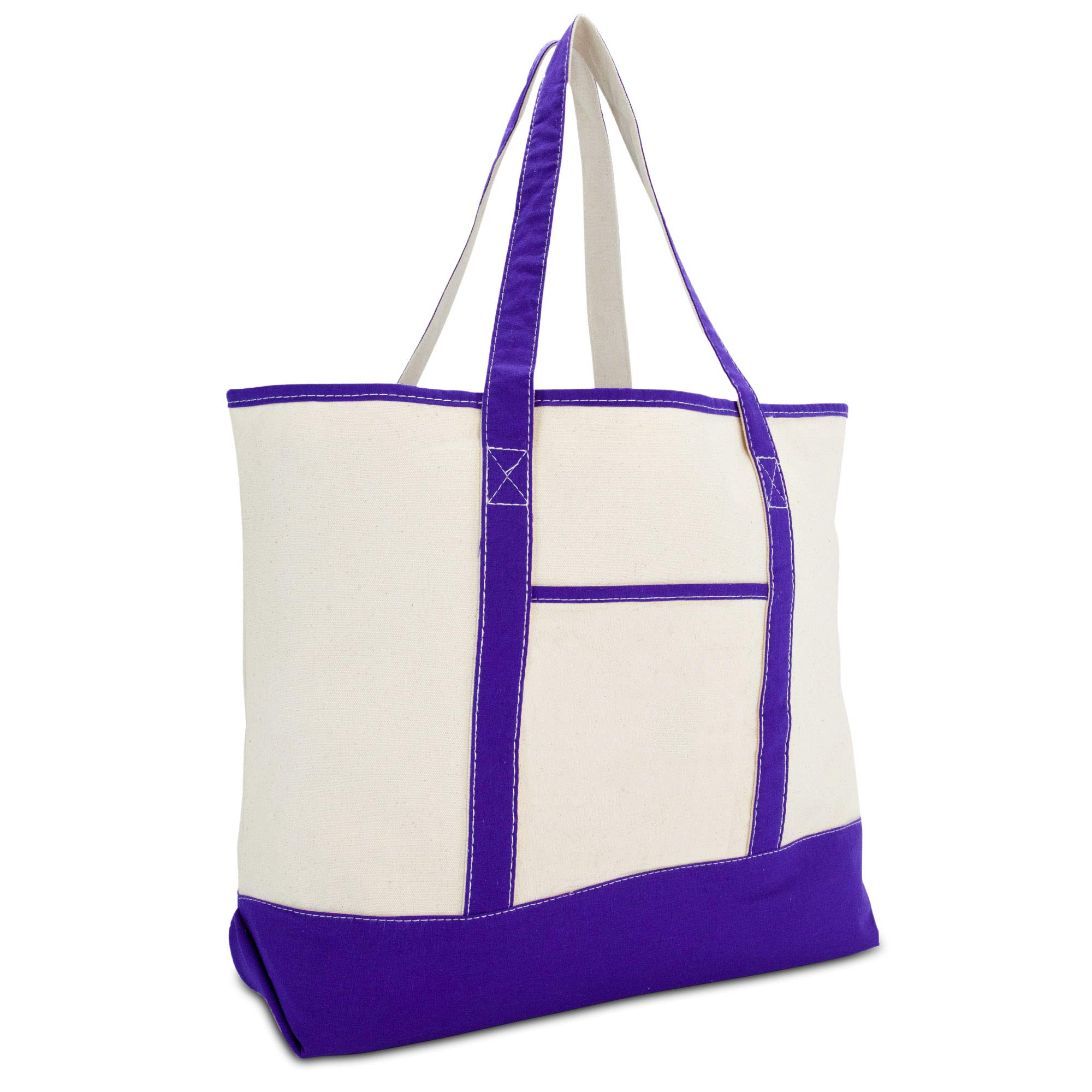 DALIX 22'' Extra Large Shopping Tote Bag w Outer Pocket in Purple and Natural