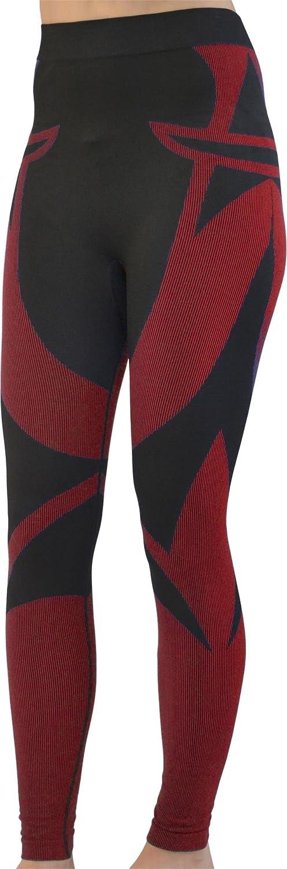 Damen Seamless Funktionsunterwäsche ohne Nähte mit Elasthan Farbe Hose Schwarz/Rot Größe Large / X-Large