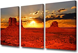 Art Work for Home Walls the Iconic Monument Valley Tribal Park At Sunrise, Arizona Pictures U.S Paintings 3 Pcs Canvas Artwork Home Decor for Living Room Framed Gallery-wrapped Ready to Hang 24''x36''
