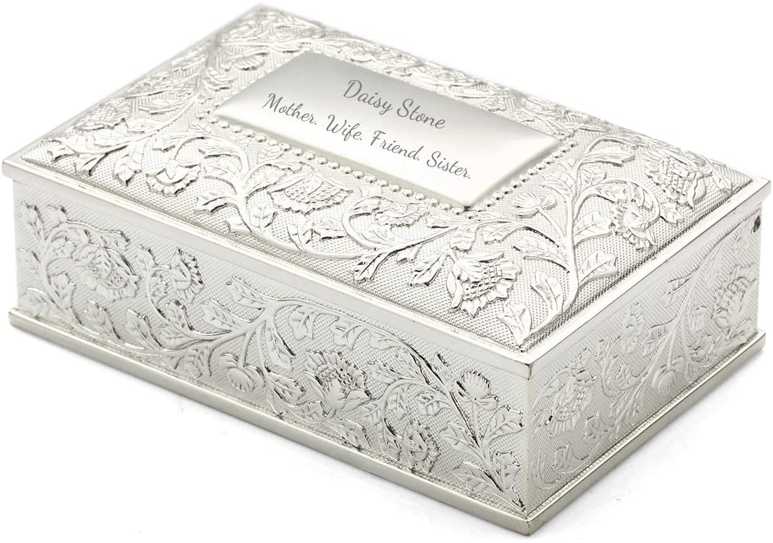 OnePlace Gifts Personalized Silver Deluxe Jewelry Box - Engraved Modern Jewelry Box - Floral Sunflower Rectangular Trinket Box for Flower Girl, Bridesmaids, Sweet Sixteen