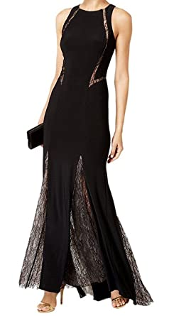 Xscape Womens Lace Trim Sleeveless Evening Dress Black 4