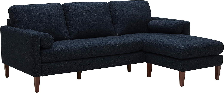 "Amazon Brand – Rivet Aiden Mid-Century Modern Reversible Sectional Sofa, 86""W, Wathet Blue"