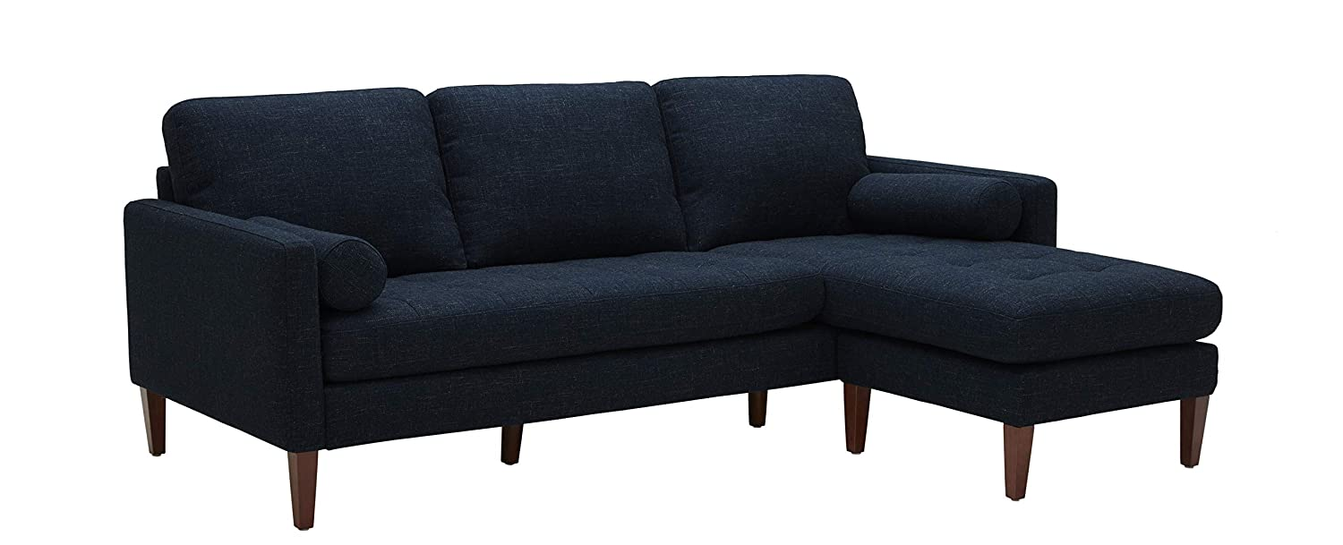 Excellent Rivet Aiden Mid Century Sectional With Tapered Wood Legs 86W Wathet Blue Gmtry Best Dining Table And Chair Ideas Images Gmtryco