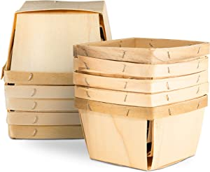 "One Pint Wooden Berry Baskets (10 Pack); for Picking Fruit or Arts, Crafts and Decor; 4"" Square Vented Wood Boxes"