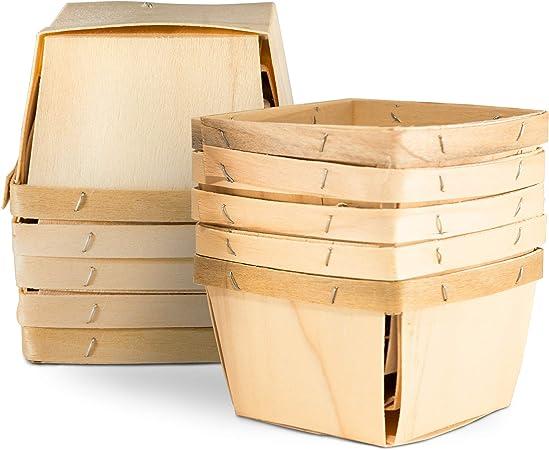 Amazon.com: Cestas de cerezo de madera de una pinta (10 ...