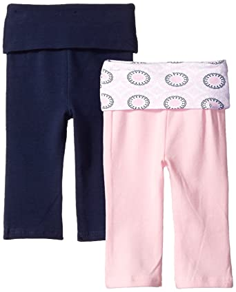 Baby Bottoms 6 Months Yoga Sprout Baby 2 Pack Pants, Navy/Baby Pink Ornamental, 12-18 Months
