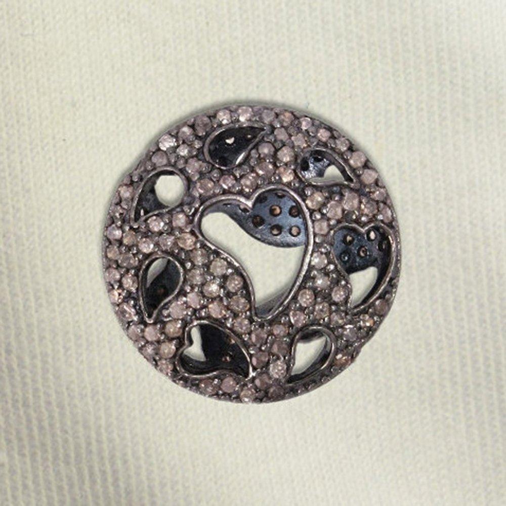 925 Sterling Silver Pave Diamond Heart Shaped Designer Bead Handmade