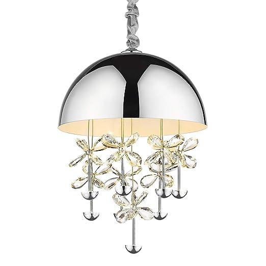 Amazon.com: Lámpara de techo LED de 40 W, cromo moderno, con ...
