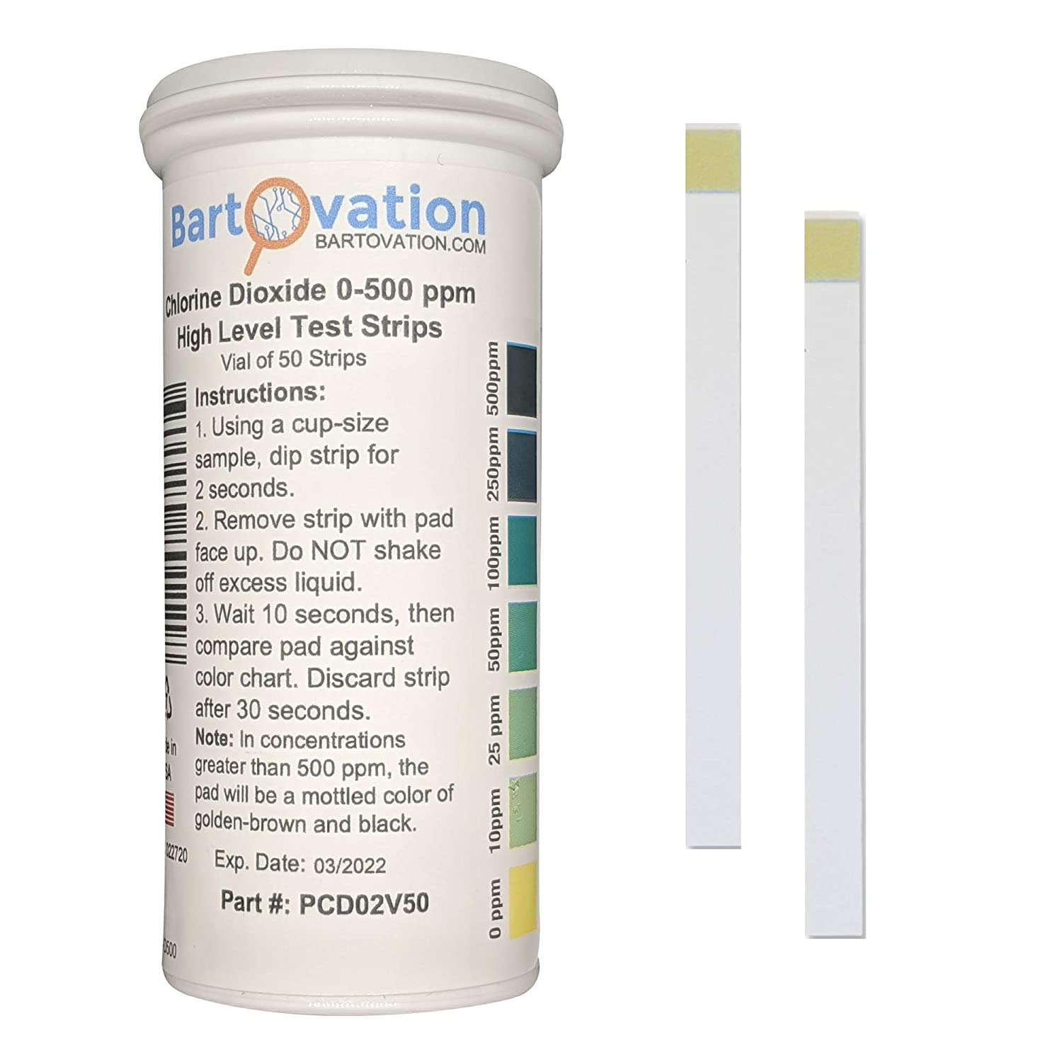 Chlorine Dioxide Single Factor Test Strips, 0-500 ppm [Vial of 50 Strips]