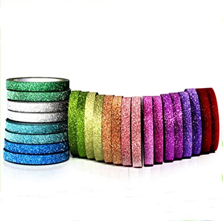 15mm X 9.1m each,Pack of 4 ST Glitter Washi Tape collection