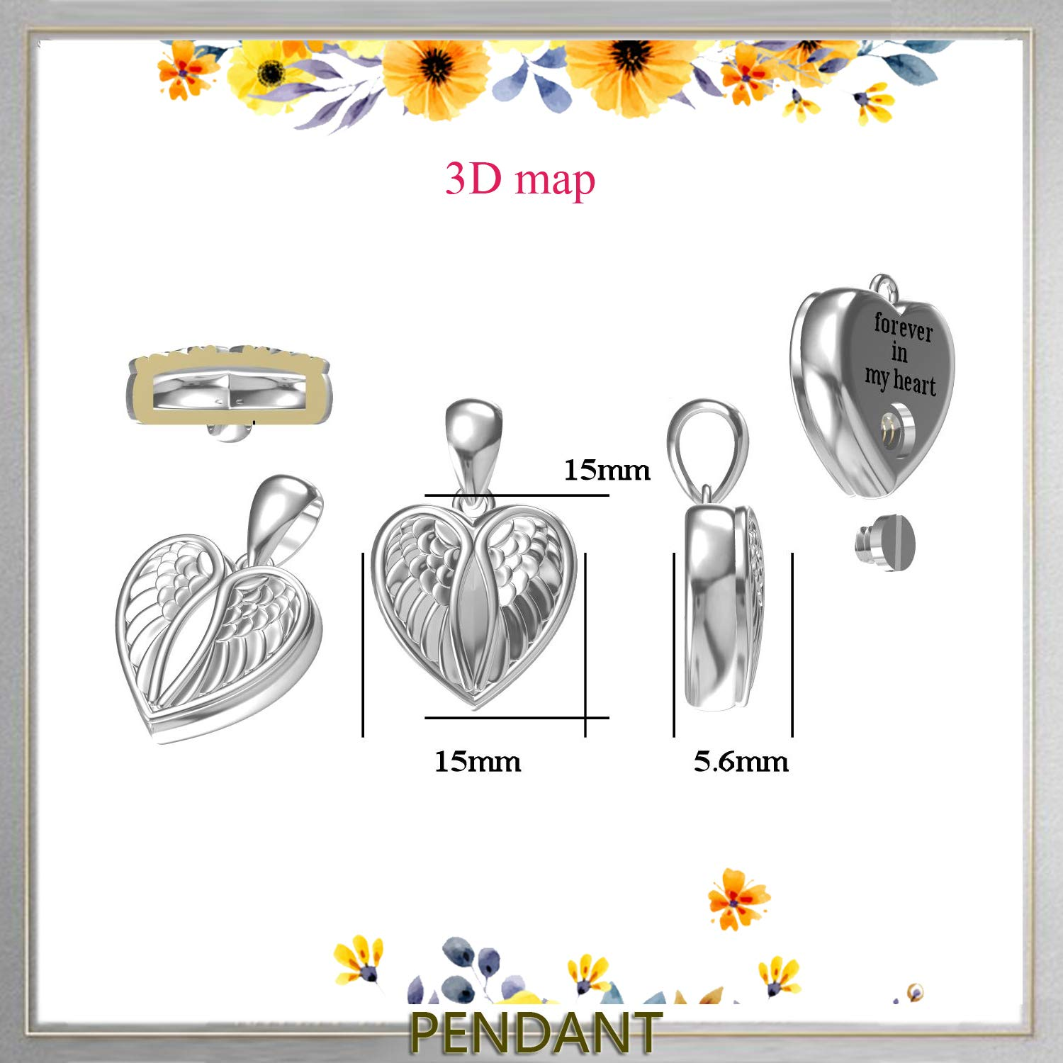 Forever in My Heart oGoodsunj 925 Sterling Silver Heart Angel Wings Cremation Jewelry Pendant Keepsake Urn Necklace for Ashes