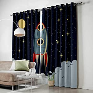 Grommet Window Panel Curtain Set, Room Décor Curtain Drapes for Living Room Dining Bedroom - Space Exploration Cartoon Spaceship Rocket Pattern,Each 27.5 by 39 Inch,Set of Two Panels