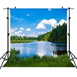 Landscape 10x15 FT Photo Backdrops,Mountain Vista Thick Forest Trees Mountain Flowing River Grass Cloudy Sky Valley Background for Baby Birthday Party Wedding Vinyl Studio Props Photography Multicolo