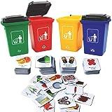 deAO Recycling-Abfallsortier-Brettspielset inklusive Abfallbehälter, pädagogisches Spiel für die Ganze Familie