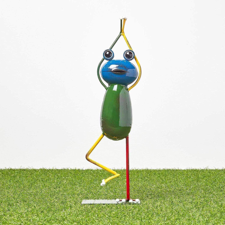 de hierro Figura decorativa de metal Homescapes para el jard/ín multicolor aprox figura de jard/ín para estanque y balc/ón para interiores y exteriores Altura: 43 cm. dise/ño de rana hecha a mano