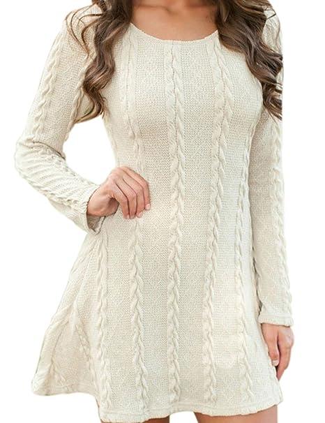 EMMA Women s Casual Scoop Neck Long Sleeve Crochet Knitted Tunic Sweater  Dress Basic Slim Coarse Knit Chunky Comfort Swing Jumper Top One-Piece  Dress Plus ... b666ad342