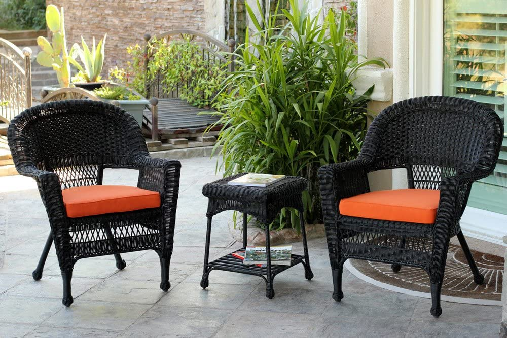 Jeco 3 Piece Wicker Chair and End Table Set with with Orange Cushion, Black