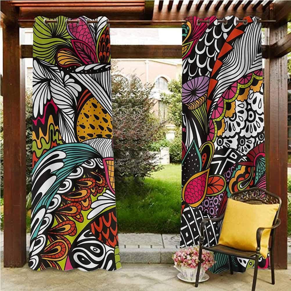"ScottDecor Garden Fade Resistant Drape Blackout Patio Outdoor Curtains Doodle Abstract Exotic Flowers Colorful Ornate Leaves Petals Festive Tropical Print Multicolor 108"" W by 96"" L(K274cm x G243cm)"