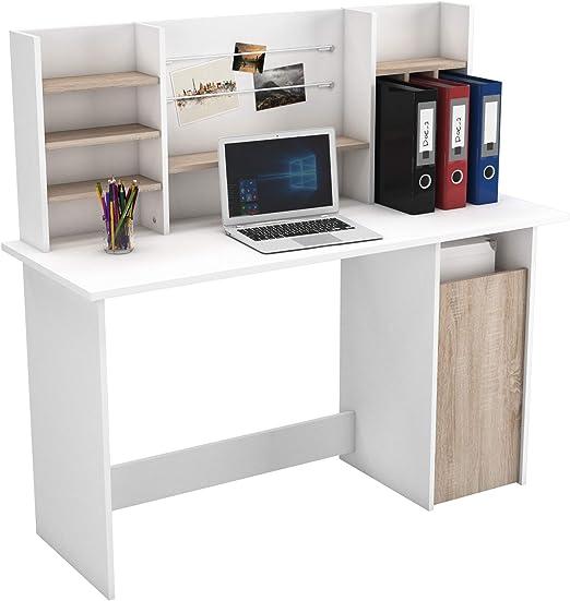 Mesa de Ordenador Escritorio con altillo 135cm. Blanco y Roble ...