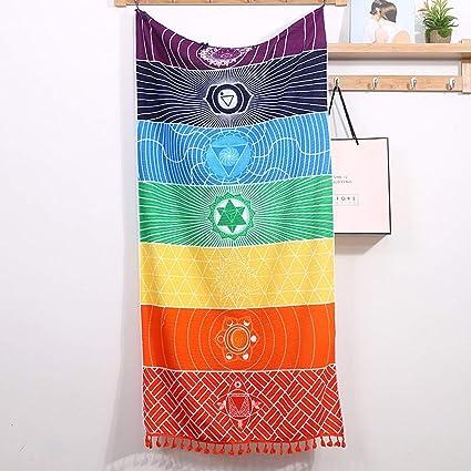 Rainbow Chakra Tapiz Toalla Alfombra Mandala Boho Stripes ...